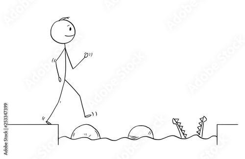 cartoon stick figure drawing conceptual illustration of man or businessman stepping on big stones to get over water obstacle on his way to success ignoring danger business concept buy this stock vector cartoon stick figure drawing conceptual