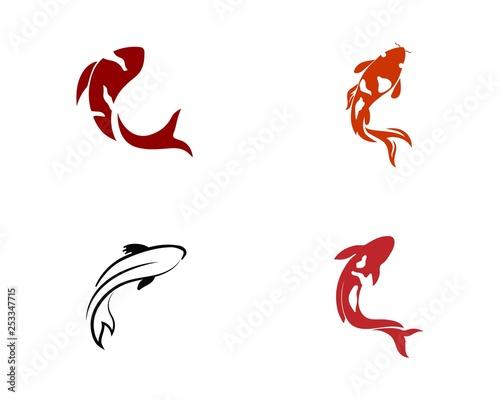 Koi Fish Icon. Underwater. Easy editable layered
