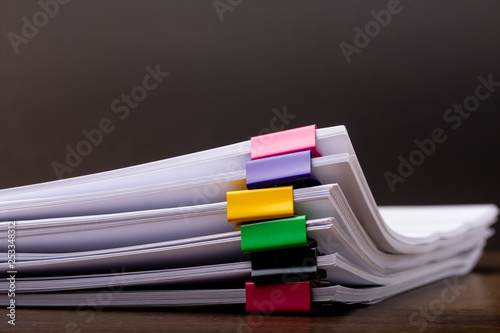 Fotografía  business concept footage paperless used, Stack of document paper with colorful paperclip