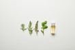 Top view of essential oil in bottle and fresh herbs on white background