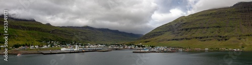 Fotografie, Obraz  town port Seydisfjordur harbour to Iceland ferry visit in summer east side of th