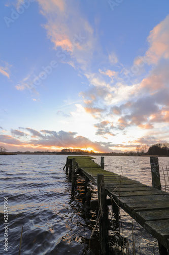 Fotografie, Obraz  Steg am See mit Abend Himmel