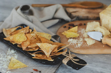 Homemade crispy chips with parmesan cheese made of Armenian flat bread lavash...