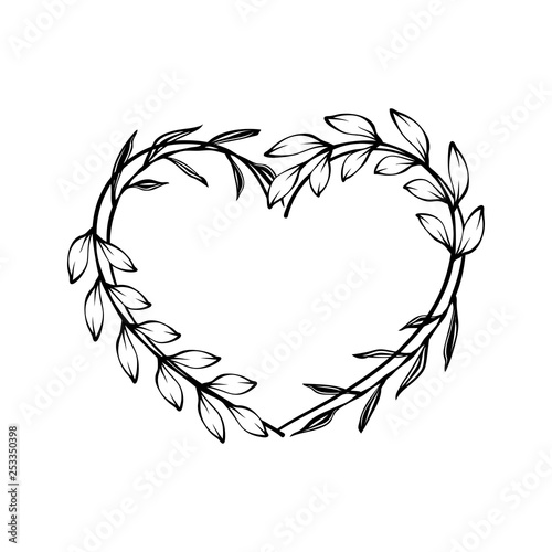 Fotografie, Obraz  Heart decorative floral frame with leaves