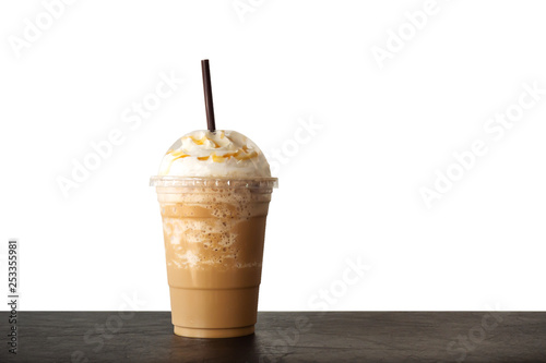 Obraz Cappuccino blended in plastic cup. Served with whipped cream. Refreshment drink. Favorite caffeine beverage. - fototapety do salonu