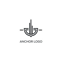 Anchor Logo Line Art Vector De...