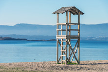 Wooden Rescue Tower On The Beach