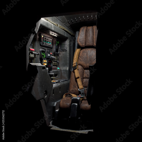 Science fiction pilot's seat in the cockpit  Futuristic