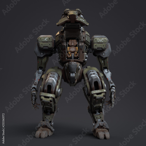 Fighting mech with an open cockpit door  Mech controlled by