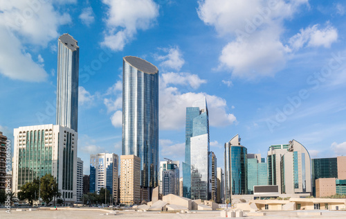 Modern city architecture and famous skyscrapers of Abu Dhabi