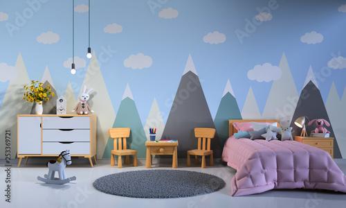 Child bedroom interior at night, 3D rendering - 253369721