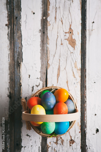 Easter: Simple Easter Basket Filled With Eggs With Copyspace Above Canvas Print