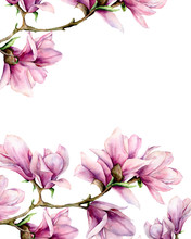 Watercolor Magnolia And Leaves Vertical Card. Hand Painted Border With Flowers On Branch Isolated On White Background. Floral Elegant Illustration For Design, Print.