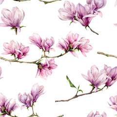Watercolor magnolia and leaves seamless pattern. Hand painted flowers and green leaves on branch isolated on white background. Floral illustration for design, print, fabric or background.