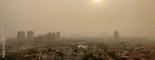 Fotografie, Obraz  Severe Delhi Air Pollution as seen from a tall building day after Diwali