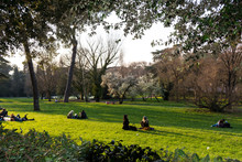 People Relax On The Lawn In The Park In Spring In Rome