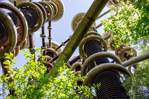 Fotografia  The experimental science setup cascade transformers tesla