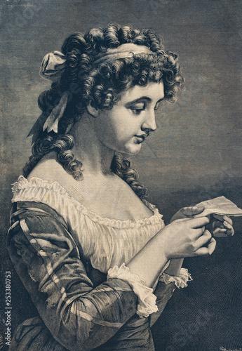 Staande foto Schilderkunstige Inspiratie The letter of the beloved. - Illustration, Germany, 1870-1879, 18th Century Style, 19th Century, 19th Century Style