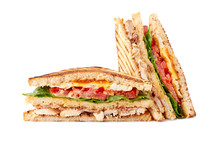 Delicious Sliced Club Sandwich On White Background
