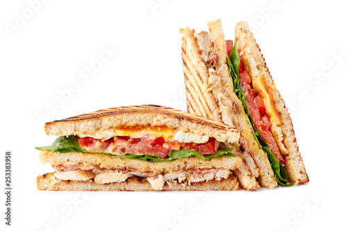 Recess Fitting Snack Delicious sliced club sandwich on white background