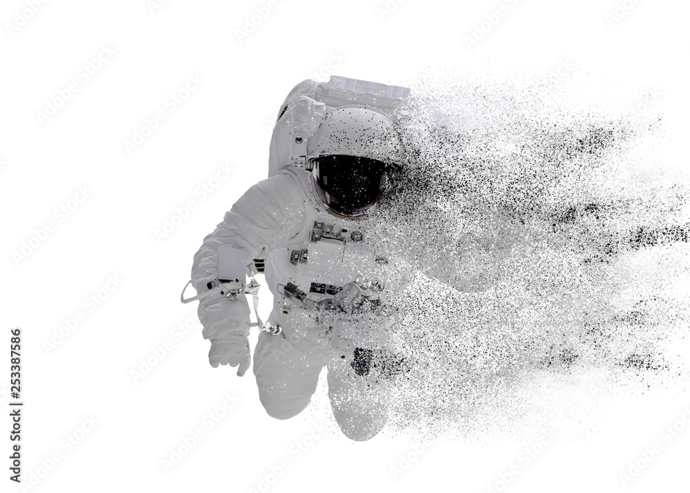 Fototapety, obrazy: Space Astronaut particle disintegration isolated on white background. Space disaster concept. Elements of this image were furnished by NASA