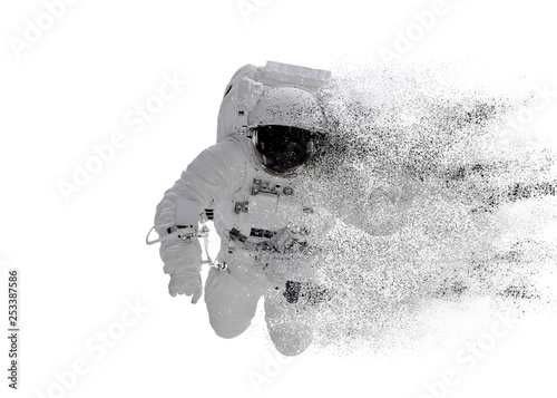 Photo  Space Astronaut particle disintegration isolated on white background