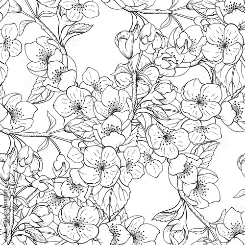 Seamless black and white jasmine floral pattern Wallpaper Mural