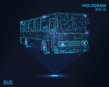 The Bus Is A Hologram. Digital And Technological Background Of The Bus. Futuristic Bus Design.