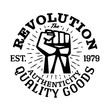 T-shirt design fist held high logo template. Vector illustration.