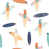 Dziewczyny z deskami surfingowymi. Lato bezszwowy wzór. Wektorowa ręka rysująca ilustracja. - 253388997