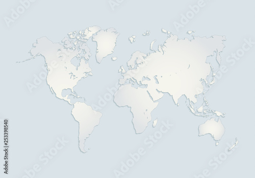 Fotografie, Obraz  World continents map, America, Europe, Africa, Asia, Australia, blue white paper
