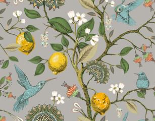FototapetaFloral vector seamless pattern. Botanical wallpaper. Plants, birds flowers backdrop. Drawn nature vintage wallpaper. Lemons, flowers, hummingbirds, blooming garden. Design for fabric, textile, paper