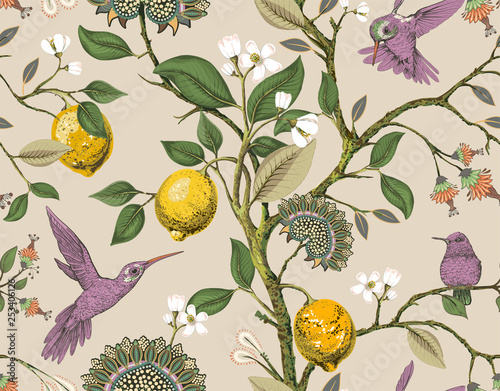 Floral vector seamless pattern Wallpaper Mural