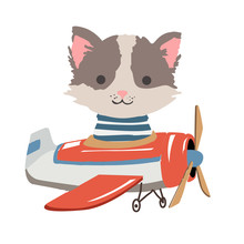 Cartoon Cat Fly On A Airplane. Image For Children Clothes, Postcards.