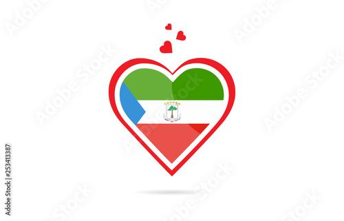 Fotografía  Equatorial Guinea country flag inside love heart creative logo design