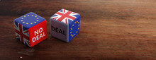 Brexit, Deal Or No Deal Concept. United Kingdom And European Union Flags On Dice, Banner. 3d Illustration