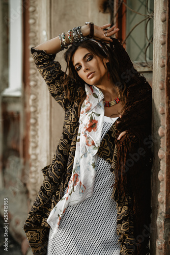 Fotobehang Gypsy feminine fashion model