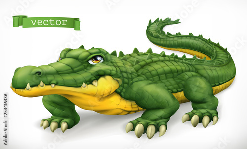 Stampa su Tela Crocodile, alligator. Funny character. Animal 3d vector icon