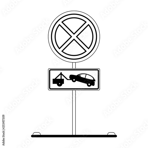 Fotografía  Prohibited parking road sign black and white