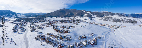 Fényképezés Keystone Colorado Winter Snowy Town Aerial Above Housing Developments