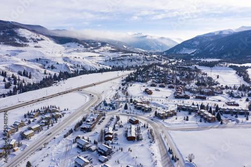 Valokuvatapetti Keystone Colorado Aerial Panorama Winter Snow