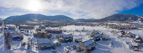 Fototapeta  Dillon Colorado Aerial Panoramic View Fresh Snow During Winter Sunny Day