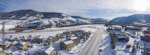 Vászonkép Dillon Colorado Aerial Panoramic View Towards Keystone Winter Roads