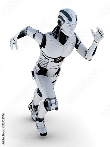 Fotografía  3D Illustration Roboter beim rennen frontal