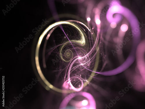 Fotografía  Abstract Illustration - Colorful Plasma Ring, Explosion of light, hadron collide