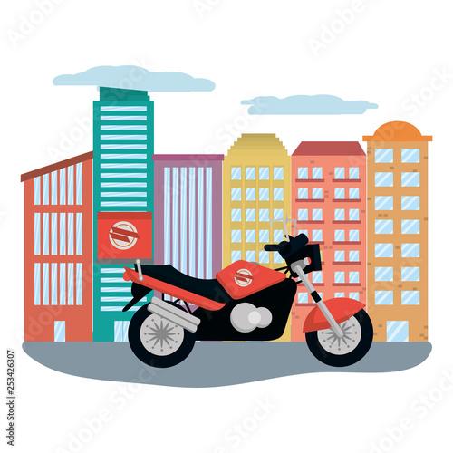 Fotografia, Obraz  delivery motocycle in cityscape
