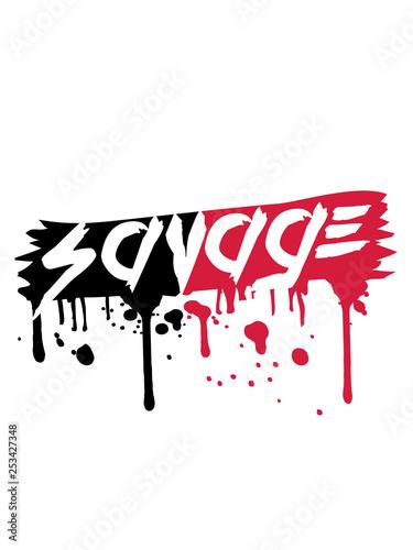 savage pinselstrich blut farbe wunde tier text logo wild gefährlich brutal monst Fototapet