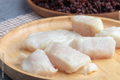 steamed pangasius dory and riceberry rice on wooden plate Wallpaper Mural