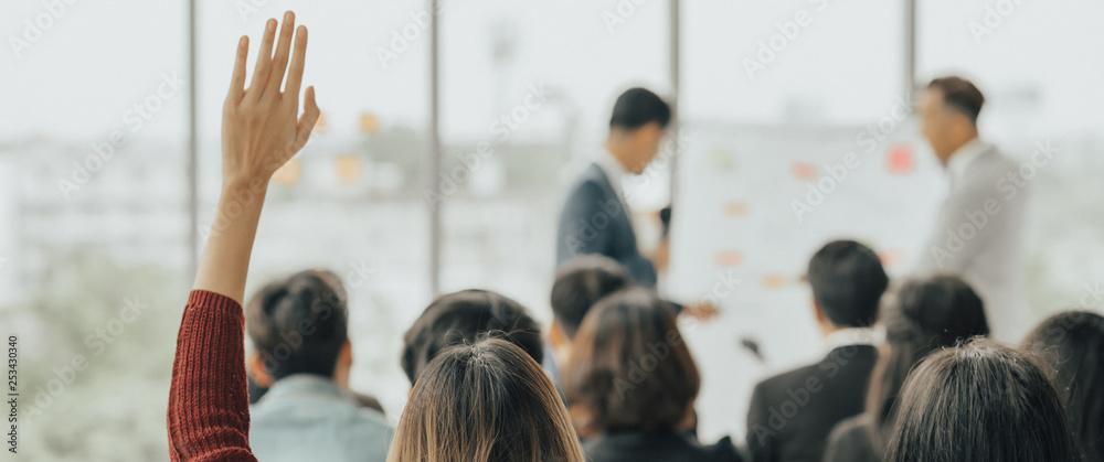 Fototapeta Business Event training seminar, the congratulation success of the organization. Business corporate development performance. The conferences, event , training education. Business workplace management