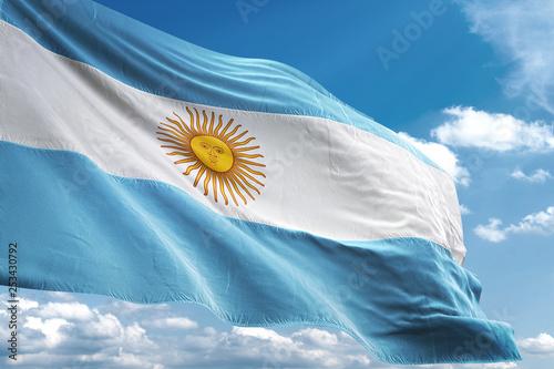 Fotografie, Tablou  Argentina flag waving sky background 3D illustration